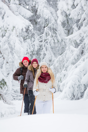 snowshoeing: Young adults snowshoeing in snowy forest in winter Stock Photo