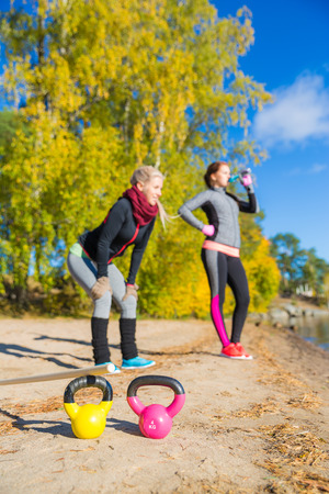 fit women: Fit women having break and enjoying Stock Photo