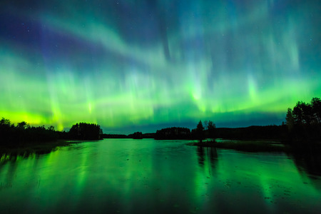 Colorful Northern lights Aurora borealis in the sky