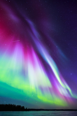 northern lights: Colorful Northern lights (Aurora borealis) in the sky Stock Photo