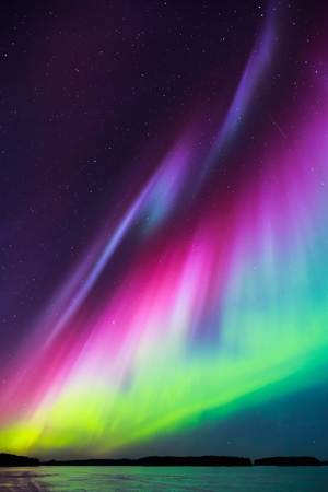 northern lights: Colorful Northern lights Aurora borealis in the sky