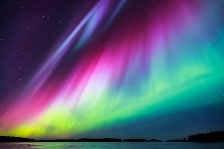 colorful lights: Colorful Northern lights Aurora borealis in the sky