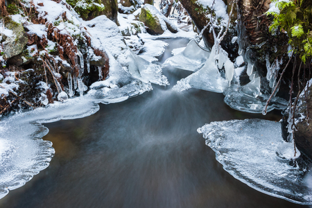 frozen creek: Frozen creek with snow and ice in winter