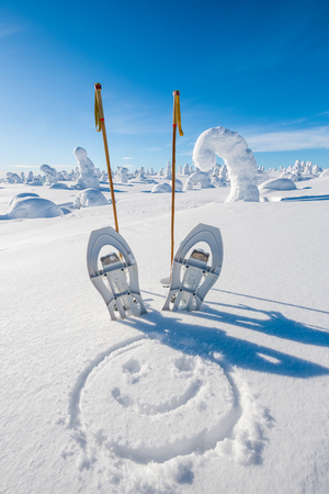 fell: Snow shoes in fell on sunny day Stock Photo