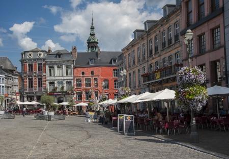 belgique: grand place at mons in belgium