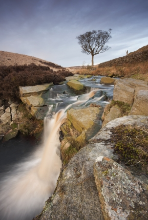 uplands: yorkshire dales waterfall on the moors
