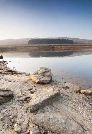 Shallow Yorkshire moorland reservoir photo