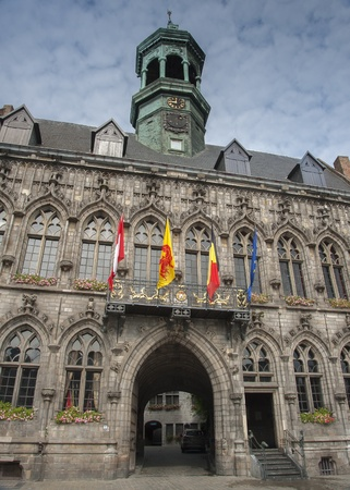 cobbled: Mons town hall, Belgium