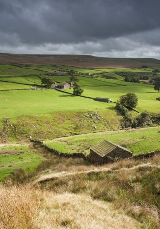uplands: yorkshire dales stone shepherd hut in the landscape