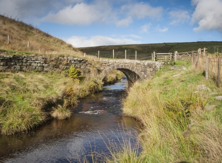 Yorkshire Dales: stone built moorland packhorse bridge