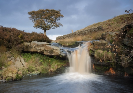 Yorkshire Dales: beautiful waterfall on the moorland in yorkshire Stock Photo