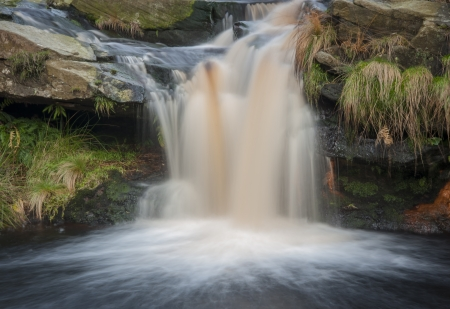 beautiful waterfall on the moorland in yorkshire Stock Photo