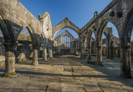 south west england: ruined church of st thomas a becket