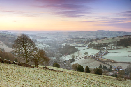 early morning: An elevated view along the Luddenden Valley situated in Calderdale in the South Pennines. The shot was taken early on a frosty January morning at sunrise