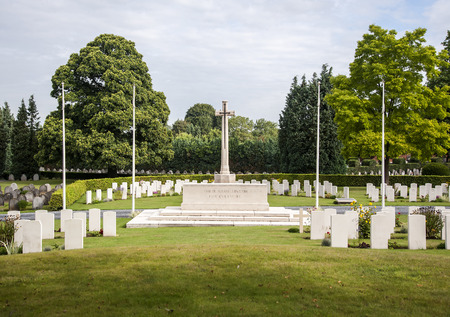 ww1: Commonwealth war graves commission cemetery situated in the Belgian town of Mons Stock Photo