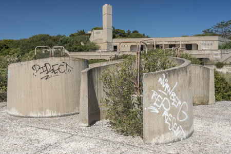 lido: Shower block in an abandoned lido on the greek island of Rhodes. Stock Photo
