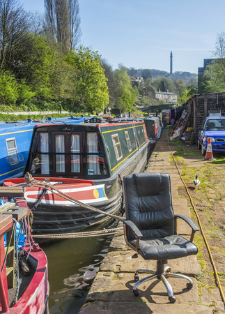 dumped: An office chair dumped alongside a canal in Yorkshire