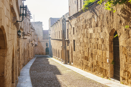 rhodes: street of the knights on the Greek island of Rhodes Stock Photo