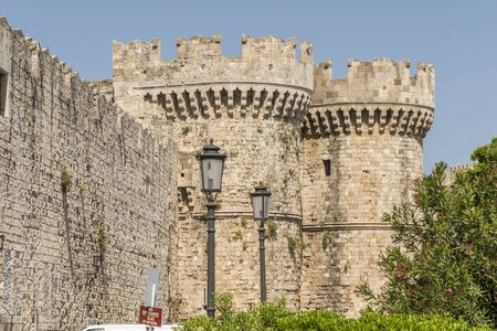 knights templar: The old medieval castle walls as seen from the moat on the Greek island of Rhodes which was inhabited by the knights Templar.