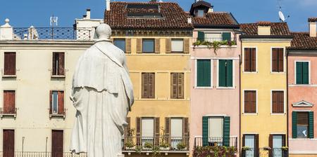 colourful venetian style buildings along the prato della valle in the italian town of padova Editorial