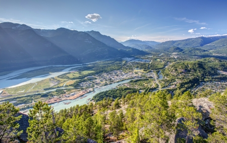 Squamish town from the summit of the chief, second largest granite monolith in the world