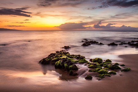 Wailea, Maui Sunset 版權商用圖片