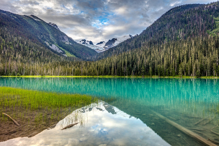 This is the first of 3 spectacular turquoise Lakes fed by Matier Glacier in Joffre Lakes provincial park, British Columbia, Canada
