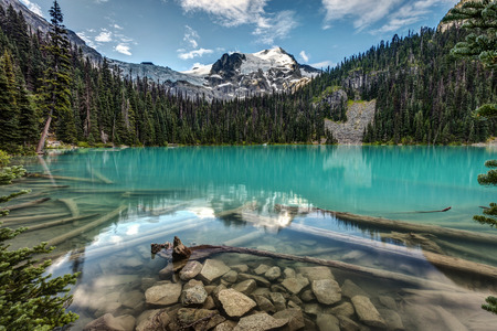 Natural Beauty of British Columbia, Canada. stunning scenery from Joffre lakes provincial park. Turquoise glacier fed water of middle Joffre lake on a calm morning. Reflection of Mount Joffre and Matier Glacier.