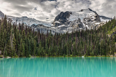 Emerald Reflection, the beautiful emerald color of Joffre Lakes, British Columbia, Canada. With Mount Joffre and Matier Glacier