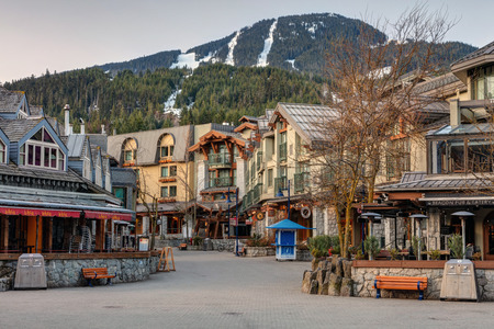 Whistler Village Square on a quiet morning in Spring Editorial