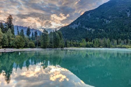 Birkenhead lake in the wilderness of British Columbia, Canada. 스톡 콘텐츠