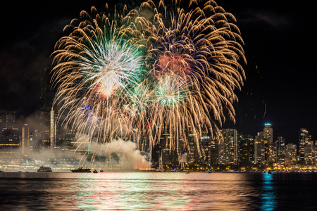 Grand finale of the July first, Canada day, fireworks in Vancouver, British Columbia, Canada.