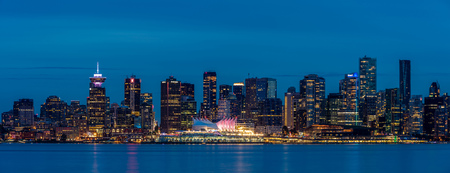 View of Vancouver city at twilight  or commonly called blue hour, from North Vancouver, British Columbia, Canada.