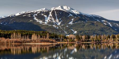 Whistler Mountain Reflection Panorama from Green Lake, Whistler, BC, Canada
