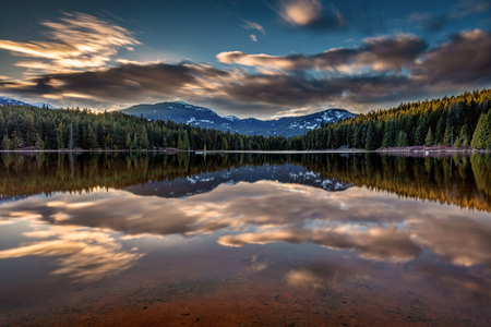 Sunset at Lost Lake, Whistler Stock Photo