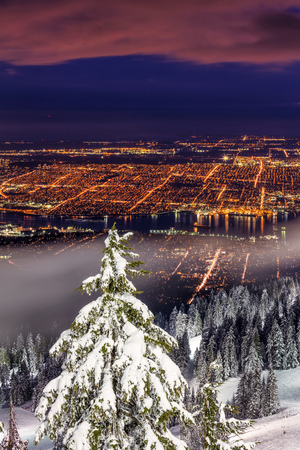 Vancouver City View While Snowboarding on Grouse Mountain, BC, Canada