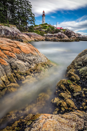 Long exposure and lots of texture at Lighthouse Park in West Vancouver, British Columbia, Canada 版權商用圖片