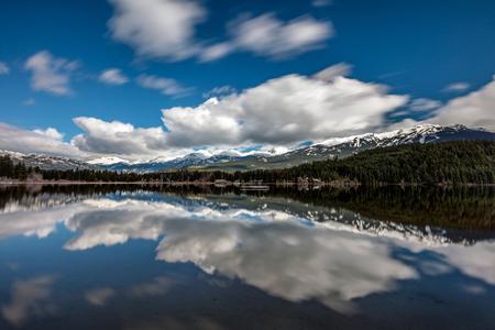 Mountain Range reflection, Whistler, British Columbia, Canada Stock Photo