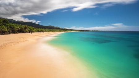 Dreamy long exposure of Big Beach on the Island of Maui, Hawaii Stock Photo