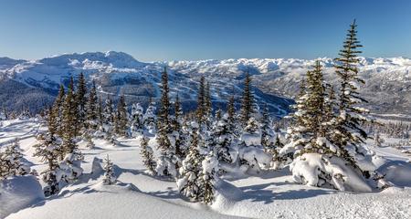 Whistler Mountain on a sunny winter day. Whistler Blackcomb, British Columbia, Canada.