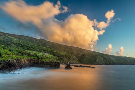 East Maui Coastline at Sunrise. Lush coastline of Oheo Gulch, East Maui at Sunrise