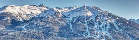 Snowy Blackcomb Mountain Panoramic view from Rainbow Mountain, #1 ski resort in the world Whistler Blackcomb, British Columbia, Canada. 版權商用圖片