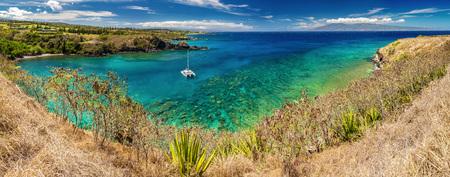 panoramic view of Honolua Bay, Maui, Hawaii.