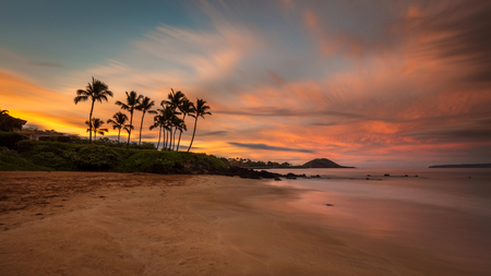 Beautiful sunrise from a south Maui beach, the soft effect of the long exposure create a calming mood. Idyllic Hawaiian scene with Palm trees, colorful sky and waves gently breaking on the beach. 版權商用圖片