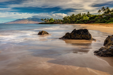 Secret Beach of South Maui. Quiet beach in early morning on the Island of Maui, Hawaii
