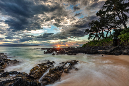 long exposure sunset from secret cove on the south of Maui, Hawaii