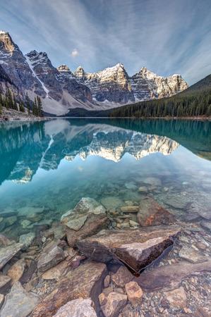 The Iconic Moraine Lake at sunrise in Banff National Park, Alberta, Canada.