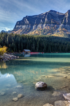 Cabin at Lake Louise in Autumn on a calm morning, Banff National Park, Alberta, Canada