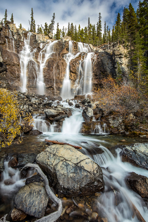 Tangle falls in Autumn on the Icefield Parkway, Jasper National Park, Alberta, Canada