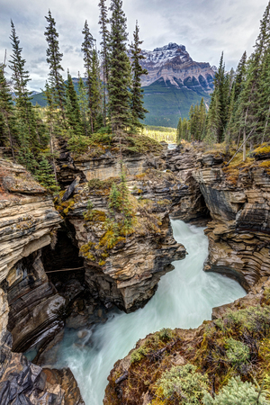 Natural flow of Athabasca Falls on the scenic Icefield parkway in Jasper National Park, Alberta, Canada